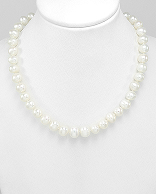 513-132AA - 925 Sterling Silver Necklace Beaded With AA Quality Fresh Water Pearls