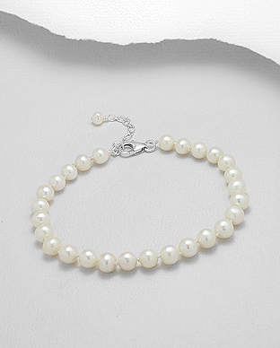 382-2772AAA - 925 Sterling Silver Bracelet Beaded With AAA Quality Fresh Water Pearls
