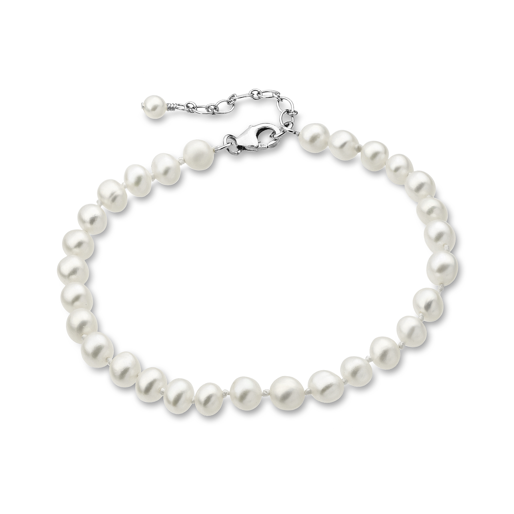 382-2773AAA - 925 Sterling Silver Bracelet Beaded With AAA Quality Fresh Water Pearls