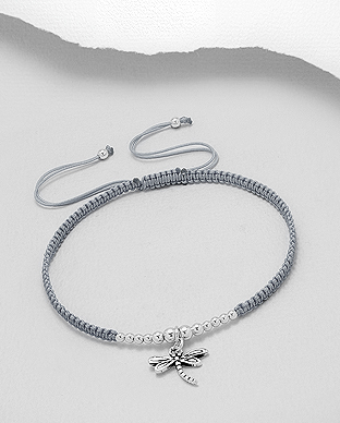 706-27902 - 925 Sterling Silver Ball And Oxidized Dragonfly Adjustable Bracelet