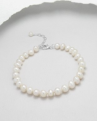 382-2773AA - 925 Sterling Silver Bracelet Beaded With AA Quality Fresh Water Pearls
