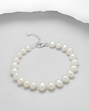 514-121AA - 925 Sterling Silver Bracelet Beaded With AA Quality Fresh Water Pearls