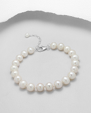 514-121AAA - 925 Sterling Silver Bracelet Beaded With AAA Quality Fresh Water Pearls