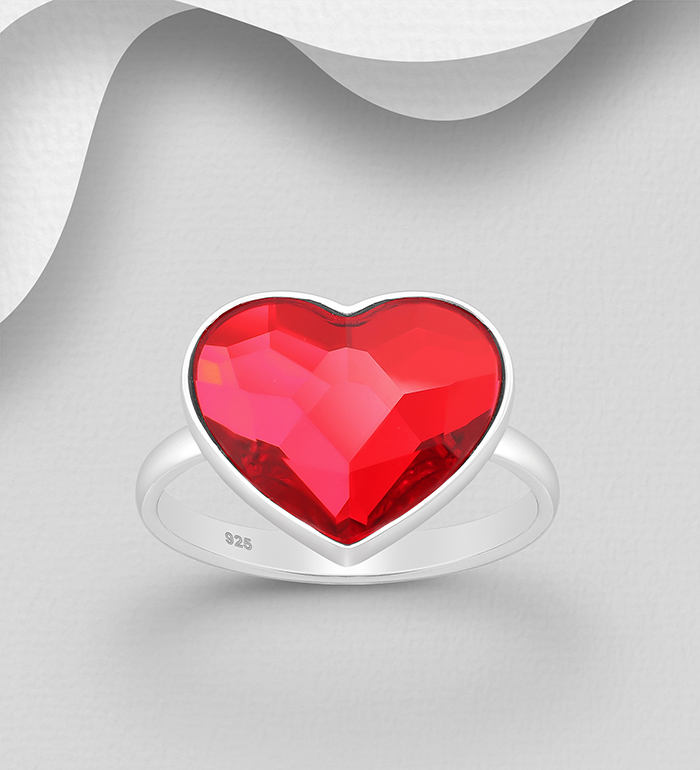 1583-371 - Sparkle by 7K - 925 Sterling Silver Heart Ring Decorated with Authentic Swarovski<sup>®</sup> Crystal