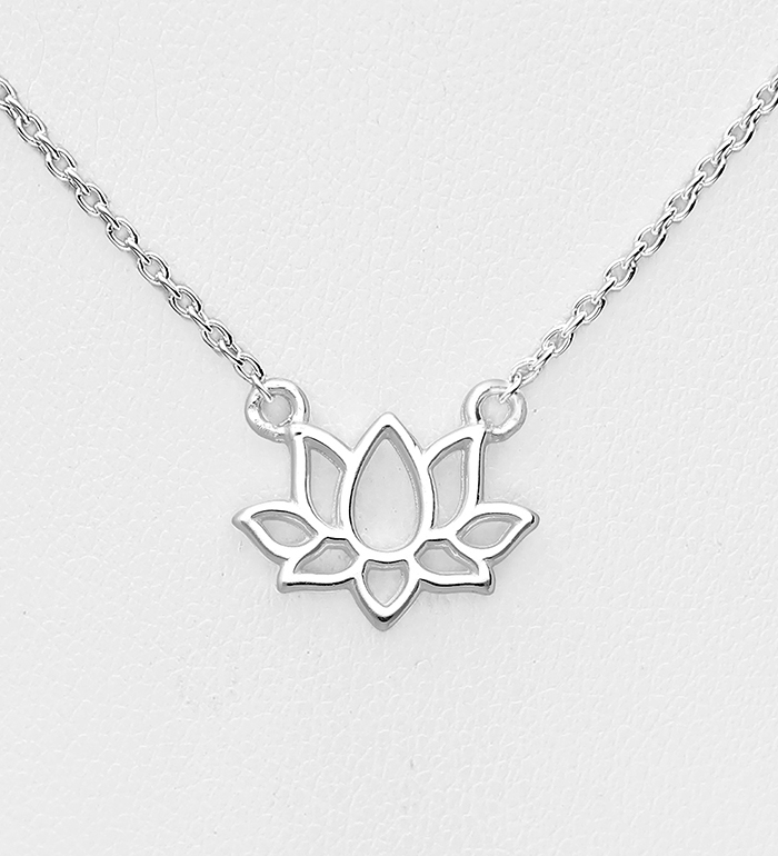 1063-2209 - 925 Sterling Silver Lotus Necklace