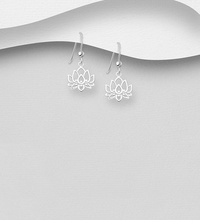 1063-2211 - 925 Sterling Silver Lotus Hook Earrings