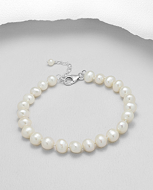 382-2772AA - 925 Sterling Silver Bracelet Beaded With AA Quality Fresh Water Pearls