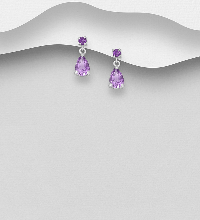1181-3192 - La Preciada - 925 Sterling Silver Push-Back Earrings, Decorated with Gemstones