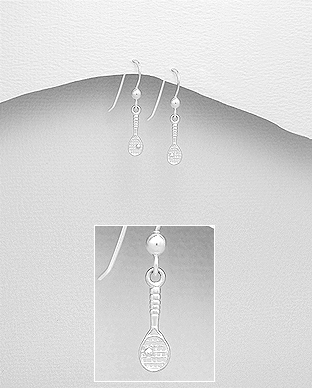 706-28062 - 925 Sterling Silver Tennis Racket Hook Earrings