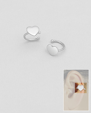 706-28090 - 925 Sterling Silver Heart Ear Cuffs