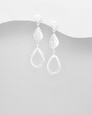 706-28094 - 925 Sterling Silver Hammered Push-Back Earrings