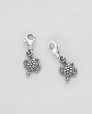 1559-442 - 925 Sterling Silver Oxidized Turtle Charm