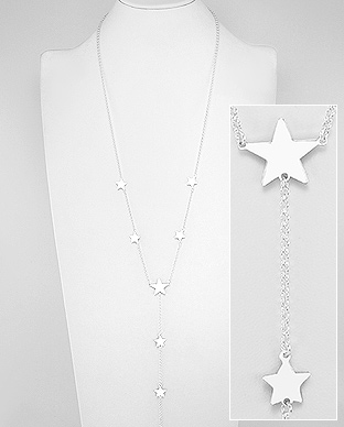 706-28127 - 925 Sterling Silver Star Long Necklace