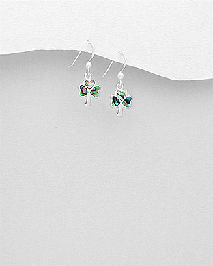 789-3642 - 925 Sterling Silver Hook Earrings Featuring Shamrock Decorated With Shell