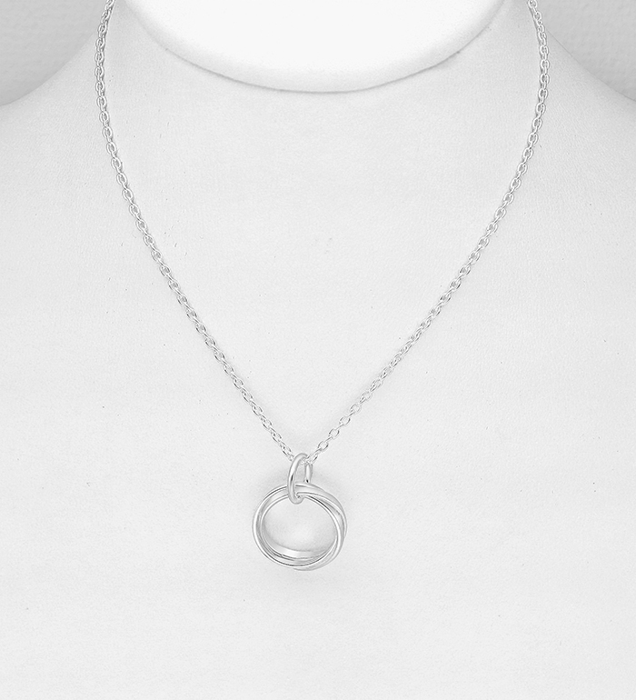 706-27556 - 925 Sterling Silver Interlock Circle Necklace
