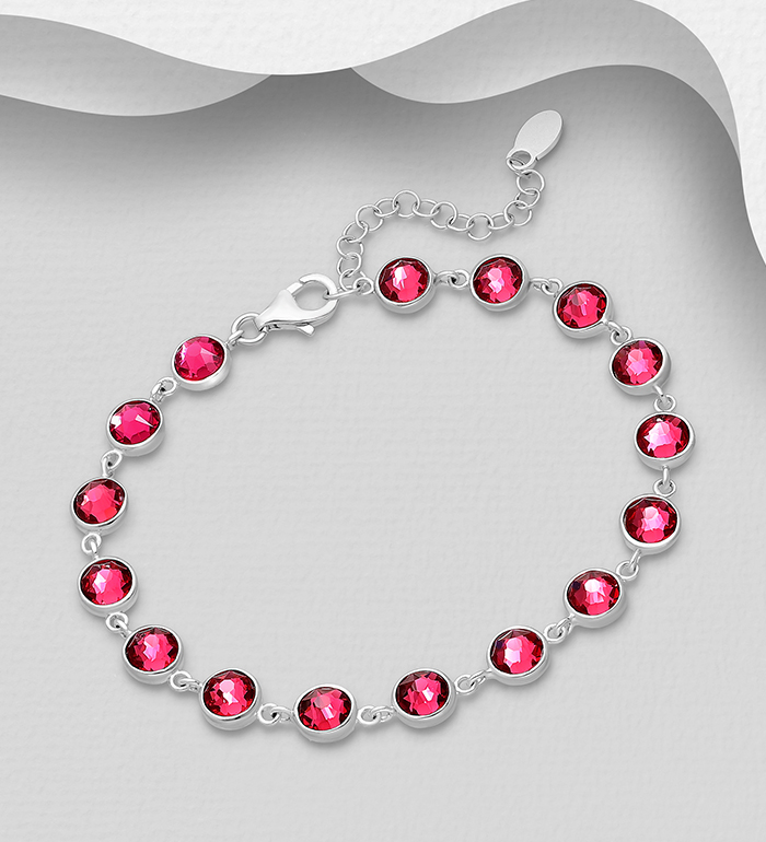 1583-379 - Sparkle by 7K - 925 Sterling Silver Bracelet Decorated with Authentic Swarovski<sup>®</sup> Crystal