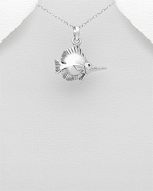 706-28220 - 925 Sterling Silver Oxidixed Fish Pendant