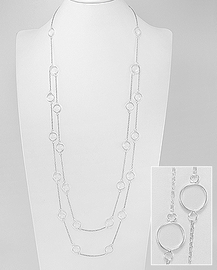 706-28227 - 925 Sterling Silver Circle Long Necklace
