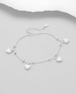 706-28253 - 925 Sterling Silver Bracelet Featuring Four Hearts Charm