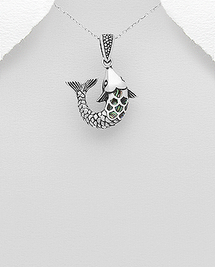 789-3662 - 925 Sterling Silver Oxidized Pendant Featuring Fish Decorated with Shell
