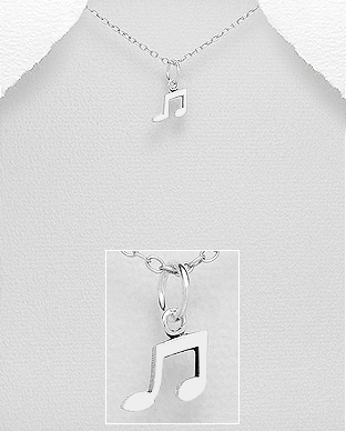 706-28336 - 925 Sterling Silver Music Notes Pendant