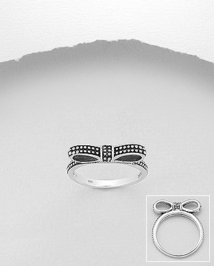 706-28431 - 925 Sterling Silver Oxidized Bow Ring