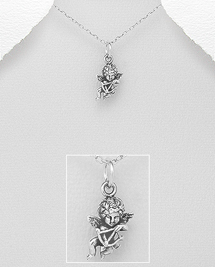 706-28453 - 925 Sterling Silver  Oxidized Cupid Pendant