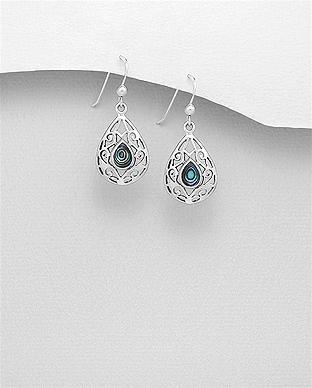 789-3704 - 925 Sterling Silver Hook Earrings Decorated With Shell