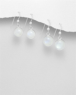 1851-51 - JEWELLED - 925 Sterling Silver Hook Earrings Decorated with Rainbow Moonstone. Handmade. Design, Shape and Size Will Vary