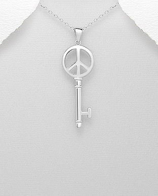 706-28510 - 925 Sterling Silver Key Pendant Featuring Peace Symbol