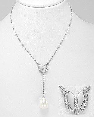 382-5132 - 925 Sterling Silver Necklace Featuring Butterfly Decorated With Fresh Water Pearl And CZ