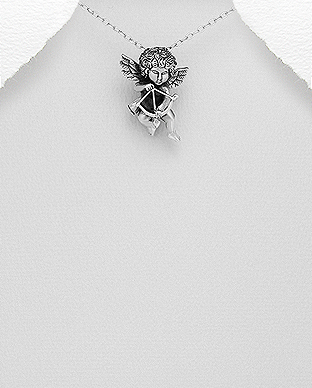 706-28551 - 925 Sterling Oxidized Silver Angel Pendant