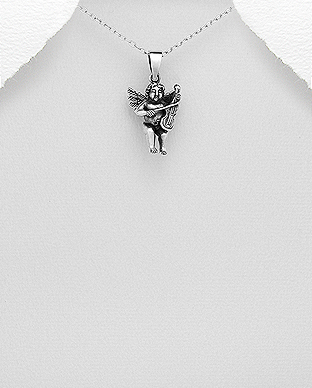 706-28552 - 925 Sterling Oxidized Silver Angel Pendant