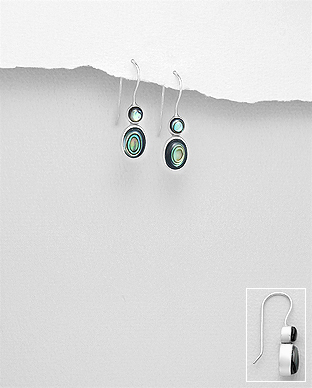 789-3714 - 925 Sterling Silver Hook Earrings Decorated With Shell
