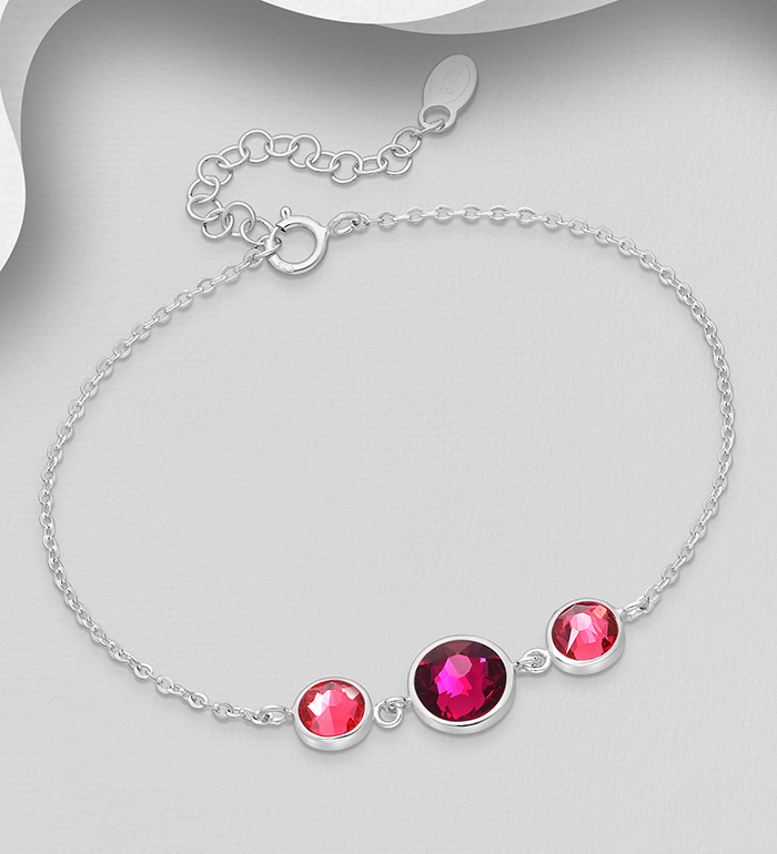 1583-386 - Sparkle by 7K - 925 Sterling Silver Bracelet Decorated with Authentic Swarovski<sup>®</sup> Crystal