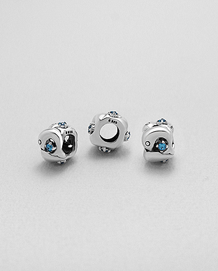 1559-466 - 925 Sterling Silver Bead Featuring Dolphin Decorated With CZ