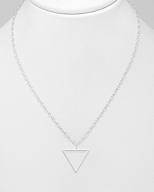 706-28643 - 925 Sterling Silver Geometric Necklace Featuring Triangle