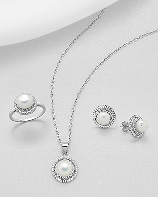 382-5138 - 925 Sterling Silver Set of Push-Back Earrings,  Pendant And Ring Decorated With Fresh Water Pearl And CZ