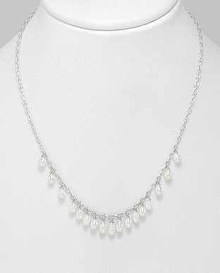 382-5147 - 925 Sterling Silver Hook Necklace Beaded With Fresh Water Pearls