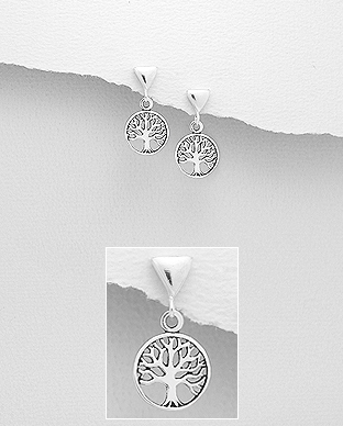 706-28657 - 925 Sterling Silver Oxidized Tree of Life Push-Back Earrings