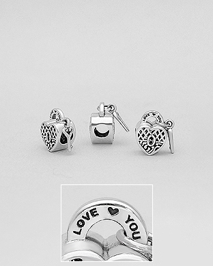1559-473 - 925 Sterling Silver Heart Lock , Key LOVE YOU Bead