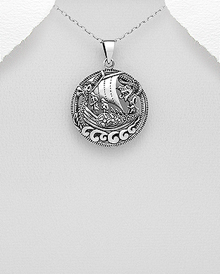 706-28691 - 925 Sterling Silver Round Oxidized Boat Pendant