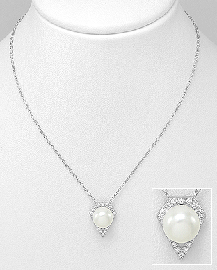 382-5149 - 925 Sterling Silver Necklace Decorated With Fresh Water Pearl And CZ