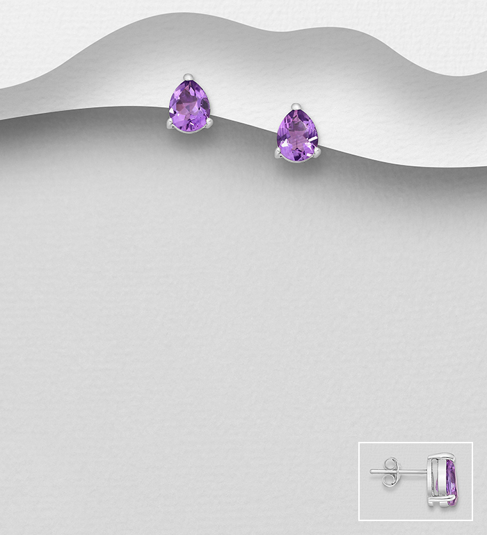 1181-3271 - La Preciada - 925 Sterling Silver Push-Back Earrings, Decorated with Amethyst