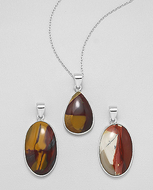 1851-93 - JEWELLED - 925 Sterling Silver Pendant Decorated with Mookaite. Handmade. Design, Shape and Size Will Vary