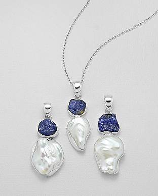 1851-112 - JEWELLED -  925 Sterling Silver Pendant Decorated with Freshwater Pearl and Tanzanite. Handmade. Design, Shape and Size Will Vary.