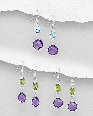 1851-118 - JEWELLED - 925 Sterling Silver Hook Earrings Decorated with Amethyst and Various Gemstones. Handmade. Design, Shape and Size Will Vary.