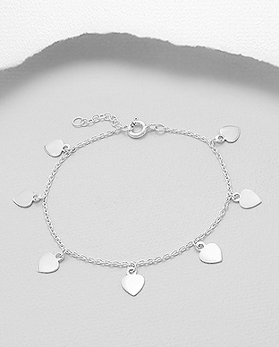 706-28850 - 925 Sterling Silver Bracelet Featuring Heart Charms