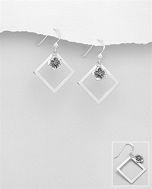 706-28855 - 925 Sterling Silver Oxidized Hook Earrings Featuring Flower And Square