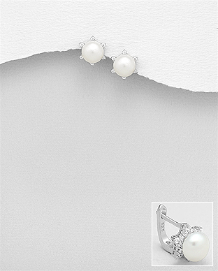 382-5177 - 925 Sterling Silver Omega Lock Earrings Decorated With Fresh Water Pearls And CZ
